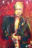 Blond woman in a red room with jacket