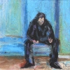 Man in black, sitting - Mann sitzend, in Schwarz